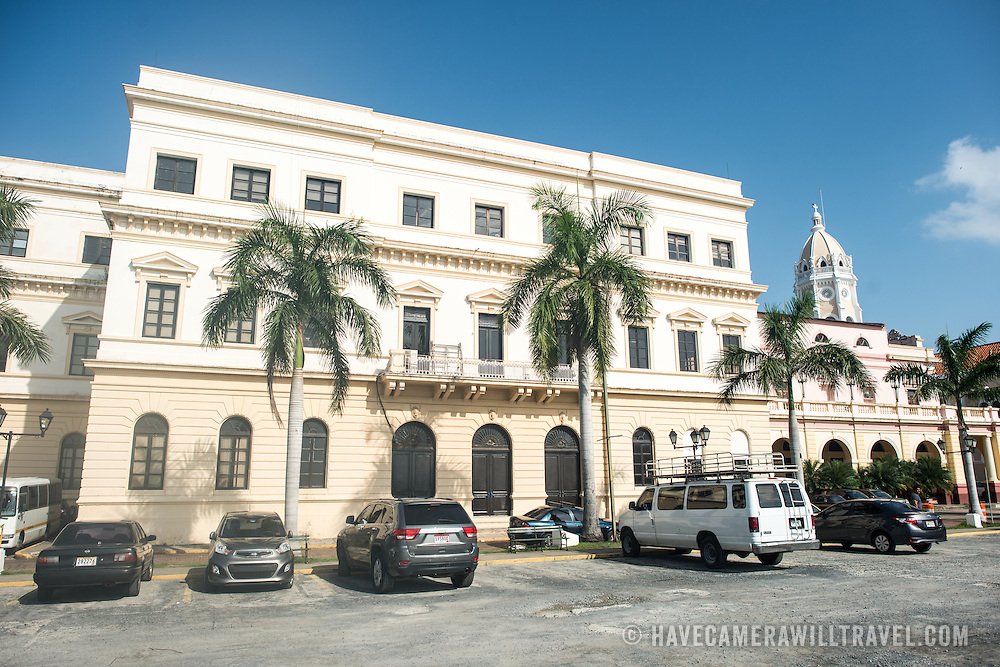 The famous and historic National Theater (Teatro Nacional) on the waterfront of Casco Viejo in Panama City, Panama.
