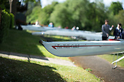 Maidenhead. Berkshire. United Kingdom. General view Competitors boats on slings beside, Maidenhead RC Boathouse. 2017 Maidenhead Junior Regatta  River Thames. <br /> Blue River Cafe in the background.<br /> [©Peter SPURRIER/Intersport Images] Sunday. 14.05.2017