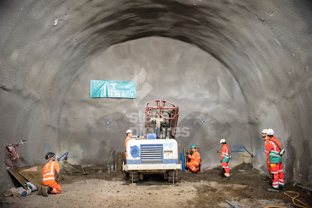 A general view of the holes being prepared for tunnel boring machines for London's super sewer in Vauxhall.<br /> Picture by Daniel Hambury/@stellapicsltd 07813022858<br /> 23/04/2018
