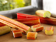 Fresh raw rhubarb sticks and Cut