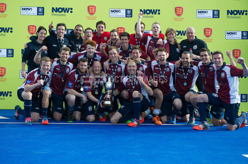 Wimbledon celebrate their win over East Grinstead to take the title. East Grinstead v Wimbledon -  Now: Pensions Men's Hockey League Championship Final, Lee Valley Hockey & Tennis Centre, London, UK on 12 April 2015. Photo: Simon Parker