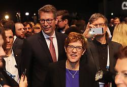 19.01.2019, Kleine Olympiahalle, Muenchen, GER, CSU Parteitag in München, im Bild Annegret Kramp-Karrenbauer kommt beim CSU Parteitag, in München an, dahinter Markus Blume // during the CSU party congress at the Kleine Olympiahalle in Muenchen, Germany on 2019/01/19. EXPA Pictures © 2019, PhotoCredit: EXPA/ SM<br /> <br /> *****ATTENTION - OUT of GER*****