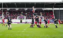 Scarlets' Tadhg Beirne claims the lineout<br /> <br /> Photographer Simon King/Replay Images<br /> <br /> Guinness PRO14 Round 19 - Scarlets v Glasgow Warriors - Saturday 7th April 2018 - Parc Y Scarlets - Llanelli<br /> <br /> World Copyright © Replay Images . All rights reserved. info@replayimages.co.uk - http://replayimages.co.uk