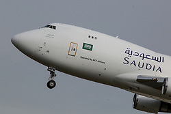 April 12, 2017 - The Boeing-747F freighter jet airplane of Saudia Cargo (operated by ACT Airlines) approaches Frankfurt/Main International Airport, Germany  (Credit Image: © Russian Look via ZUMA Wire)