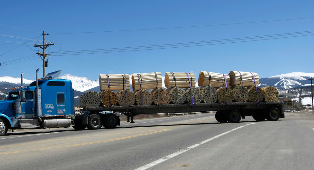 A truck load of fence posts made from beetle-killed pine trees moves onto the highway near the Winter Park ski area (background) in Winter Park, Colorado April 6, 2010.  Colorado has 3 million acres of forest killed by mountain pine beetles.  REUTERS/Rick Wilking (UNITED STATES)