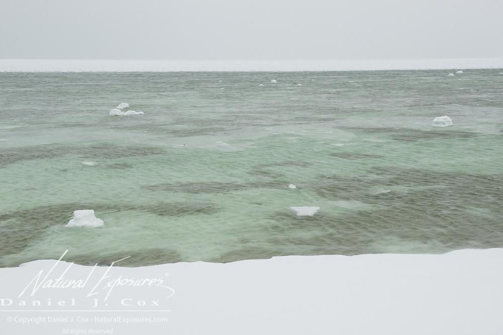 Newly forming ice of Cape Churchill, Hudson Bay, Manitoba.