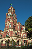 Some of the most grand colonial buildings of the British are to be seen in Yangon city center including the high courthouse.  Adjacent to Mahabandoola Garden, an oasis in the concrete jungle.