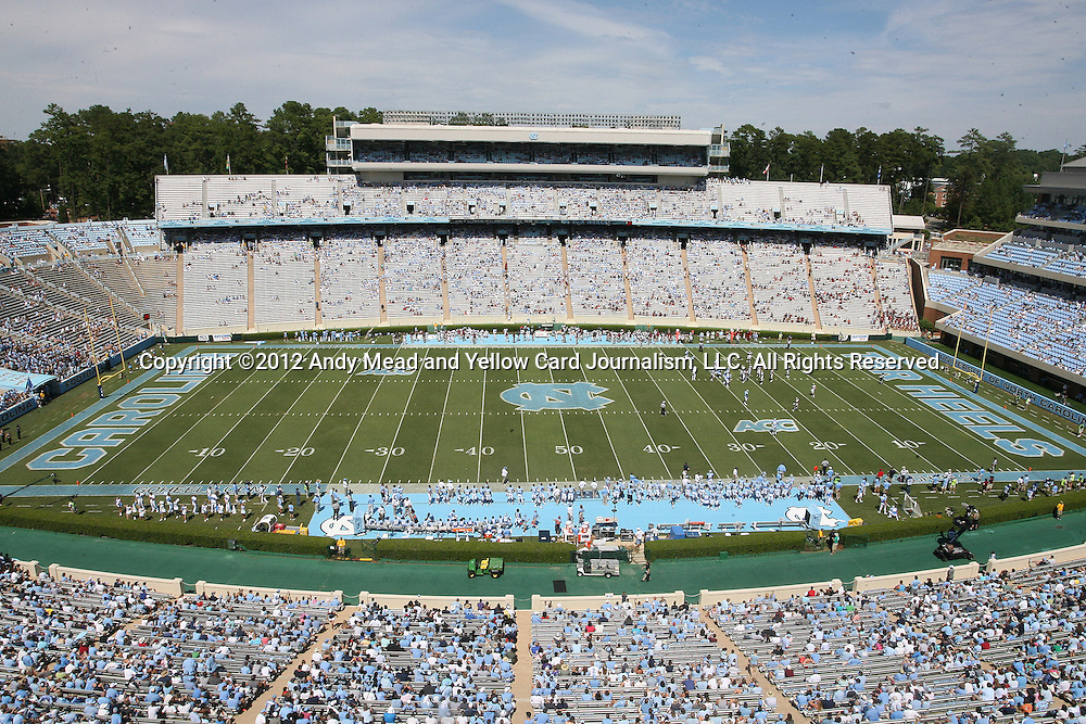 01 September 2012: A wide shot of the stadium during the second half. The University of North Carolina Tar Heels played the Elon University Phoenix at Kenan Memorial Stadium in Chapel Hill, North Carolina in a 2012 NCAA Division I Football game.