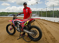 Cameron Smith with his Honda CRF45OR ready to race during the Flat Track Racing coming back to Loudon during this years 96th annual Motorcycle Week.  (Karen Bobotas/for the Laconia Daily Sun)