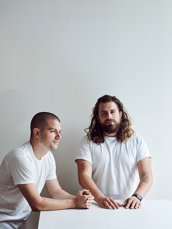 Jonathan Omar (left) and Lionel Dinis Salazar, designer and co-founder of Doppel Studio, shot in their worshop. Paris, France. August 27, 2019.