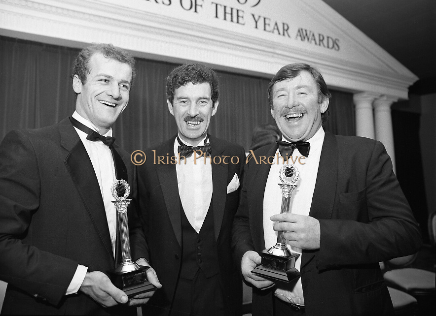 """28th Texaco Sportstar of the Year..1986..15.01.1986..01.15.1986..15th January 1986..At a banquet in the Burlington Hotel,Dublin, the presentation of awards for """"Sportstar"""" of the Year were made. The presentation was carried out by the Tanaiste, Mr Dick Spring TD. The awards were made to the top ten sports people as selected by a panel of judges...Photo shows Kerrymen together..Mr Jack O'Shea ,Gaelic Football Award  Winner, the Tanaiste and Minister for Energy,Mr Dick Spring TD and Mr Mick Doyle Rugby Award Winner."""