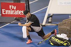 February 21, 2018 - Delray Beach, FL, United States - Delray Beach, FL - February 21: Jack Sock (USA) takes a tumble during the match against  Rielly Opelka (USA) at the 2018 Delray Beach Open held at the Delray Beach Tennis Center in Delray Beach, Florida.   Credit: Andrew Patron/Zuma Wire (Credit Image: © Andrew Patron via ZUMA Wire)