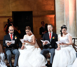 June 12, 2017 - Newly-wed couples take part in a group wedding in Lisbon, capital of Portugal. A total of 11 couples got married during a group wedding in Lisbon on Monday as part of the month-long Lisbon Festival. (Credit Image: © Zhang Liyun/Xinhua via ZUMA Wire)