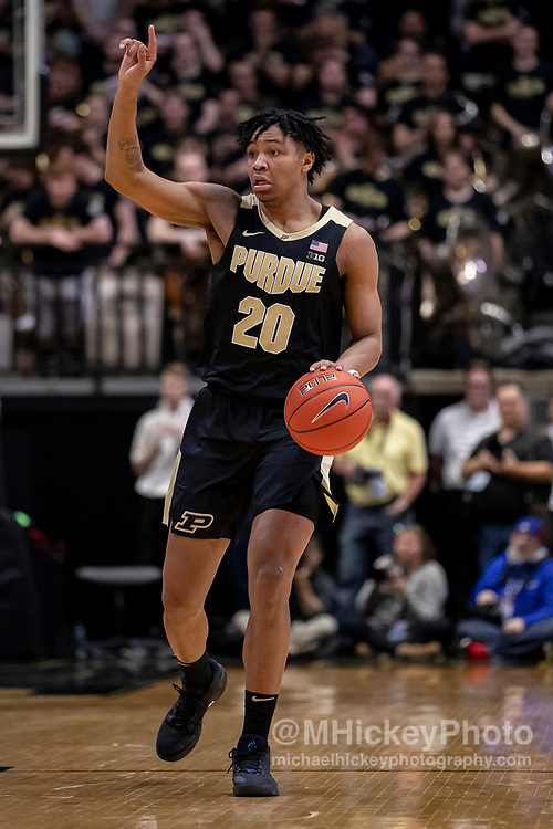 WEST LAFAYETTE, IN - FEBRUARY 27: Nojel Eastern #20 of the Purdue Boilermakers brings the ball up court during the game against the Indiana Hoosiers at Mackey Arena on February 27, 2020 in West Lafayette, Indiana.(Photo by Michael Hickey/Getty Images) *** Local Caption *** Nojel Eastern