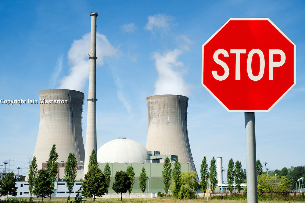 Stop sign at Grafenrheinfeld nuclear power station on Germany (digitally altered image)