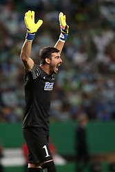August 15, 2017 - Lisbon, Portugal - Steaua's goalkeeper Florin Nita reacts during the UEFA Champions League play-offs first leg football match between Sporting CP and FC Steaua Bucuresti at the Alvalade stadium in Lisbon, Portugal on August 15, 2017. (Credit Image: © Pedro Fiuza/NurPhoto via ZUMA Press)