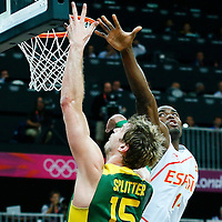 06 August 2012: Brazil Tiago Splitter goes for the layup past Spain Serge Ibaka during 88-82 Team Brazil victory over Team Spain, during the men's basketball preliminary, at the Basketball Arena, in London, Great Britain.