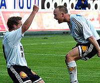 Fotball, Tippeligaen, Eliteserien 14.06.03<br />Rosenborg - Molde 5-0<br />Fredrik Winsnes jubler sammen med Øyvind Storflor, som fastsatte sluttresultatet til  5-0<br /><br />Foto:Carl-Erik Eriksson, Digitalsport