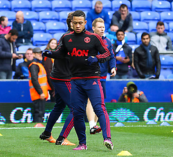 Memphis Depay of Manchester United warms up  - Mandatory byline: Matt McNulty/JMP - 07966 386802 - 17/10/2015 - FOOTBALL - Goodison Park - Liverpool, England - Everton v Manchester United - Barclays Premier League