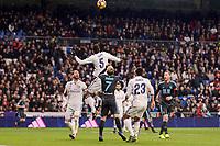 Real Madrid's Sergio Ramos, Raphael Varane and Danilo Luiz Da Silva and Real Sociedad's Juanmi Jimenez during La Liga match between Real Madrid and Real Sociedad at Santiago Bernabeu Stadium in Madrid, Spain. January 29, 2017. (ALTERPHOTOS/BorjaB.Hojas)