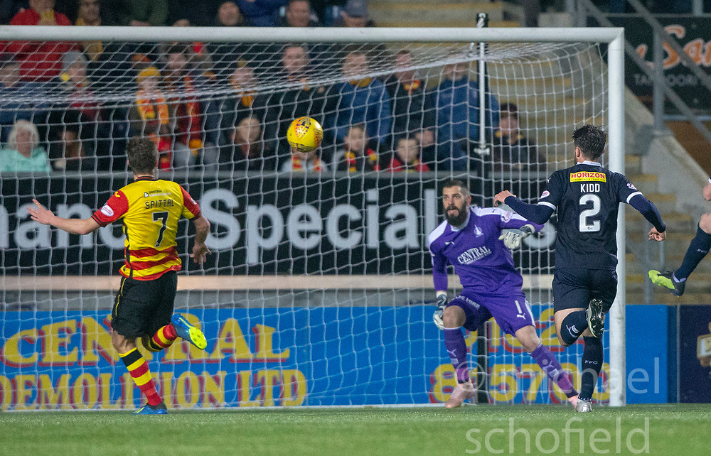 Partick Thistle's Blair Spittal misses a late chance. Falkirk 1 v 1 Partick Thistle, Scottish Championship game played 17/11/2018 at The Falkirk Stadium.
