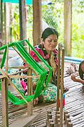 Silk loom, Silk plantation, Koh Oknha Tey Island, Cambodia