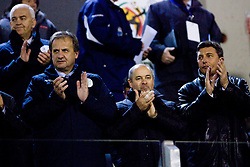 Ivan Simic of NZS (L) and prime minister of Slovenia Borut Pahor at the last 2010 FIFA World Cup South Africa Qualifying match in Group 3 between San Marino and Slovenia, on October 14, 2009, in Olimpico Stadium, Serravalle, San Marino. Slovenia won 3:0. (Photo by Vid Ponikvar / Sportida)