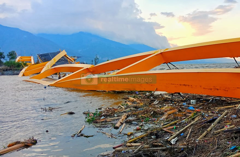 October 3, 2018 - Palu, Central Sulawesi, Indonesia - PALU, INDONESIA - OCTOBER 03, 2018 : The Yellow Bridge which was the Palu city icon was the collapsed  after the earthquake and tsunami in Palu, Central Sulawesi Province, Indonesia. The bridge is the connecting sub-district of East Palu and West Palu. In addition, the 250-meter bridge is the first curved bridge in Indonesia. (Credit Image: © Sijori Images via ZUMA Wire)
