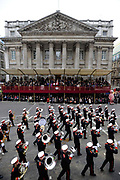 The Lord Mayors show London. Military procession go past The Lord Mayor at Mansion House.