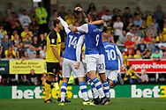 Sheffield Wednesday striker Gary Hooper (14) scores a goal to make the score 1-0 and celebrates with team-mates during the EFL Sky Bet Championship match between Burton Albion and Sheffield Wednesday at the Pirelli Stadium, Burton upon Trent, England on 26 August 2017. Photo by Richard Holmes.