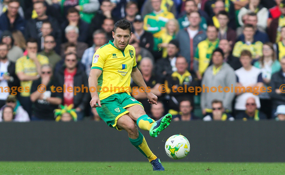 Wesley Hoolahan of Norwich City passes the ball during the Sky Bet Championship match between Norwich City and Rotherham United at Carrow Road in Norwich. October 15, 2016.<br /> Arron Gent / Telephoto Images<br /> +44 7967 642437