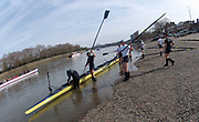 Putney, London,  Tideway Week, OUBC, boating for an afternoon training session. Championship Course. River Thames, OUBC. Boating from Putney Hard [Foreshore] Thames RC.<br /> <br /> Thursday,  30.03.2017<br /> [Mandatory Credit; Credit: Peter SPURRIER/Intersport Images.com ]