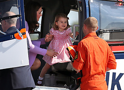 Princess Charlotte on a helicopter before the Royal party departed from Hamburg Airport on the last day of their three-day tour of Germany.