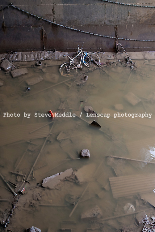 Rubbish at Low Tide, River Thames, Blackfriars, London, Britain - 2010