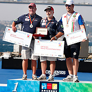 Rodger WILLET Jr. (USA) (C), Reo WILDE (USA) (L) and Sergio PAGNI (ITA) (R) competes in Archery World Cup Final in Istanbul, Turkey, Saturday, September 24, 2011. Photo by TURKPIX