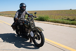 Todd Kraft riding his 1928 Harley-Davidson model JDH Motorcycle Cannonball coast to coast vintage run. Stage 6 (260 miles) from Bourbonnais, IL to Cedar Rapids, IA. Thursday September 13, 2018. Photography ©2018 Michael Lichter.
