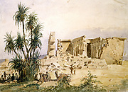 Temple of Marharraka, Aswan, Nubia, Egypt. Watercolour by Hector Horeau (1801-1872) French architect.