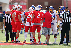 29 October 2016:  Coin Toss. NCAA FCS Football game between South Dakota State Jackrabbits and Illinois State Redbirds at Hancock Stadium in Normal IL (Photo by Alan Look)