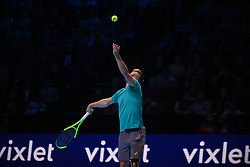 November 17, 2017 - London, England, United Kingdom - David Goffin of Belgium serves in his Singles match against Dominic Thiem of Austria during day six of the Nitto ATP World Tour Finals at O2 Arena on November 17, 2017 in London, England. (Credit Image: © Alberto Pezzali/NurPhoto via ZUMA Press)