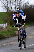 United Kingdom, Finchingfield, Mar 27, 2010:  Mark Arnold, www.tt-Weekly.com - Pedal Rev/Gear Club, approaches the 4 miles to go marker during the 2010 edition of the 'Jim Perrin' Memorial Hardriders 25.5 mile Sporting TT promoted by Chelmer Cycling Club. Copyright 2010 Peter Horrell.