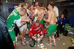 WREXHAM, WALES - Monday, May 2, 2016: The New Saints' captain goalkeeper Paul Harrison celebrates with his team-mates after the 2-0 victory over Airbus UK Broughton during the 129th Welsh Cup Final at the Racecourse Ground. (Pic by David Rawcliffe/Propaganda)