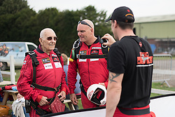 © Licensed to London News Pictures. 25/08/2016. <br /> <br /> Pictured: D-Day veteran Ted Pieri is filmed by a member of the Red Devils Parachute Display Team prior to his jump. <br /> <br /> Fred Glover and Ted Pieri, two D-Day veterans who are both 90 years old have parachuted into Sarum Airfield, Wiltshire on Thursday 25th August 2016, 72 years after D-Day having earlier in the month parachuted into Merville Battery in France.<br /> <br /> Photo credit should read Max Bryan/LNP
