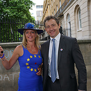 Downing Street, London, UK. 23rd June, 2017. Tim Skeet is a Chairman Britain for Europe attend The No10 Vigil against Brexit being held on the first anniversary of the EU Referendum outside Downing street.