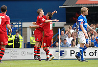 Photo: Ashley Pickering.<br /> Ipswich Town v Cardiff City. Coca Cola Championship. 06/05/2007.<br /> Paul Parry of Cardiff (centre L) celebrates his equaliser