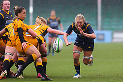 Alex Matthews of Worcester Warriors Women attempts to charge down a box kick by Claudia MacDonald of Wasps FC Ladies- Mandatory by-line: Nick Browning/JMP - 24/10/2020 - RUGBY - Sixways Stadium - Worcester, England - Worcester Warriors Women v Wasps FC Ladies - Allianz Premier 15s