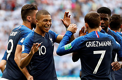 June 30, 2018 - Kazan, Russie - Soccer Football - World Cup - Round of 16 - France vs Argentina - Kazan Arena, Kazan, Russia - June 30, 2018  France's Antoine Griezmann celebrates scoring their first goal with Kylian Mbappe and team mates (Credit Image: © Panoramic via ZUMA Press)