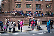 People awaiting the parade for The Lord Mayor's Show, one of the longest-established annual events, dating back to the 16th century. Held within the City of London, UK.