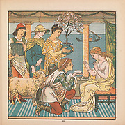 The Four Presents illustration From the Book ' The baby's bouquet : a fresh bunch of old rhymes & tunes ' by Crane, Walter, 1845-1915; Crane, Lucy, 1842-1882; Evans, Edmund, 1826-1905; Publisher  George Routledge and Sons (London and New York) 1878