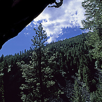 ROCK CLIMBING. Ben Wiltsie (MR) on a huge overhang in Kootenai Canyon, Bitterroot Mts., Montana.