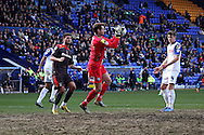 Tranmere Rovers' goalkeeper Owain Fon Williams collects the ball. Skybet football league 1 match, Tranmere Rovers v Carlisle United at Prenton Park in Birkenhead, England on Saturday 29th March 2014.<br /> pic by Chris Stading, Andrew Orchard sports photography.